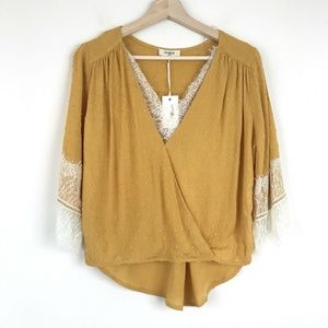 NWT Umgee Womens Mustard Lace Blouse
